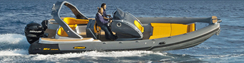 Rigid inflatable and console centre boat